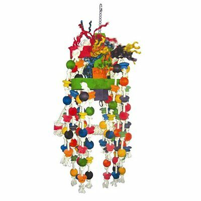 A and E Cage Co. Large Beaded Rope Swing Bird Toy with Knots, Large
