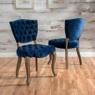 Bates Tufted New Velvet Dining Chairs - Set of 2, Navy Blue, Set of 2