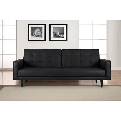 Domus Vita Cagliari Leather Sofa Bed Black Twin