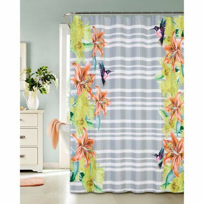DAINTY HOME HUMMINGBIRD Polyester Waffle Shower Curtain Multicolor Standard