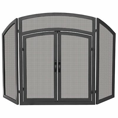 Uniflame 3 Panel Black Wrought Iron Arch Top Fireplace Screen with Doors