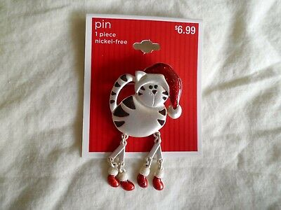 Cat with Santa Hat and Dangle Feet Pin/Brooch