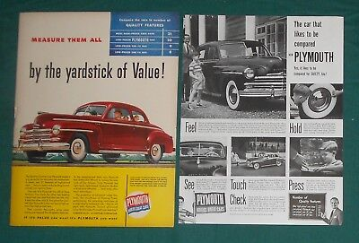 (2) Original  1947 &1949  Plymouth Car Print Ads