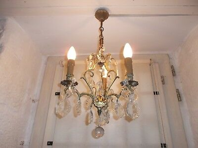 French 3 light chandelier bronze  crystals stunning antique/ vintage