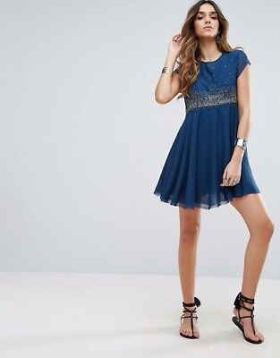 ce38d198 NWOT FREE PEOPLE Star Embellished Party Dress Rock Candy Blue Size 6 ...