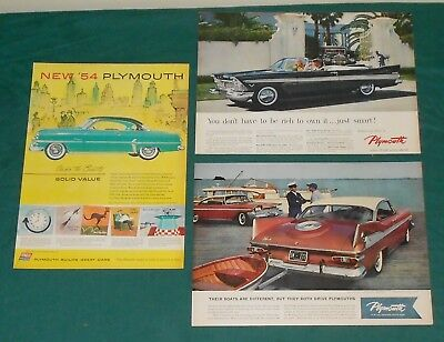 (3) ORIGINAL  1950's  PLYMOUTH CAR PRINT ADS - 1954 - 1957 - 1959