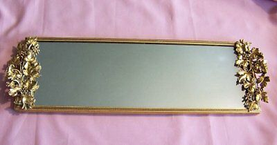 Vintage Matson Rectangular Vanity MirrorTray Grape Levesand Grapes Handles