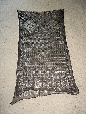 Vintage 1920's Art Deco Egyptian Assuit Scarf Black with Silver Metal