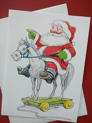 Vintage Unused Wallace Tripp Christmas Greeting Card Santa on Pull Horse Toy