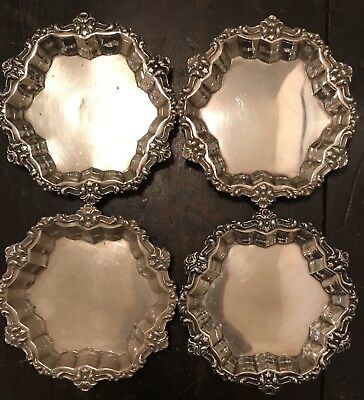 Sterling Silver Pure 925 Butter Pat Dish Set Of 4 Frank M Whiting #1226 C 1920