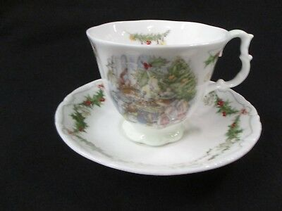 Rare Merry Midwinter Royal Doulton Brambly Hedge Cup & Saucer Jill Barklem (CI)