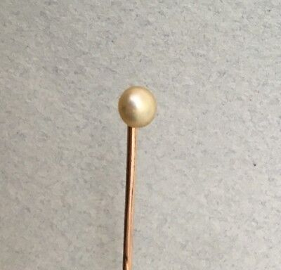 ANTIQUE REAL PEARL STICK PIN 9ct GOLD tie vintage solid 1950s 1960s natural