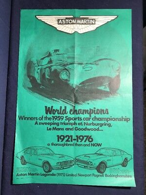 1976 IPC Business Press Limited Aston Martin Poster The Sydney Press World Champ
