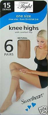 6 Pairs 15 Denier Knee Highs (6 colour choice) (SH) for everyday work or play