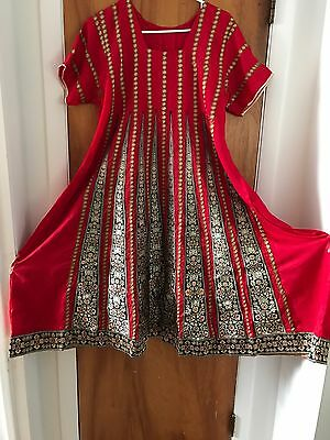 Pakistani frock Dress In Red Large size