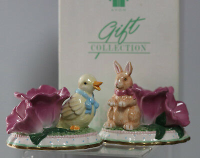 Avon Springtime taper holders Easter Bunny & Easter Duck candle holders NIB