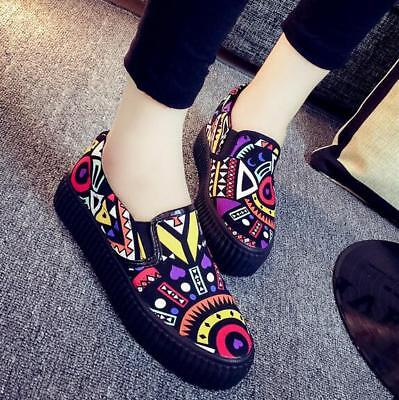 Graffiti Canvas Slip On WomensTrainers Sneakers Trainers Flat sport Lazy shoes