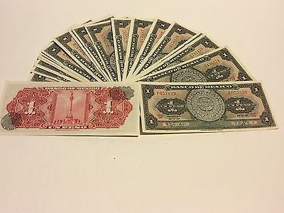 Mexico Notes $1 Peso ABNC Mexican Banknotes  Lot Of (25) AU-UNC Serie 1957-67