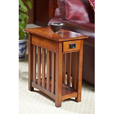 Leick Solid Ash Mission Chairside End Table, Oak, 12 inches