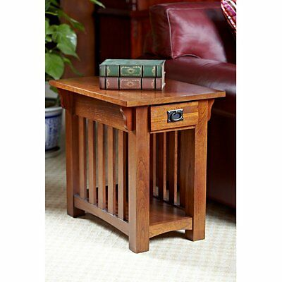 Leick Home Solid Ash Mission 1 Drawer Chairside End Table, Oak, 17 inches
