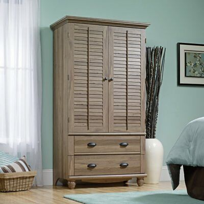 Sauder Harbor View Armoire Wardrobe Armoires In Antiqued Paint