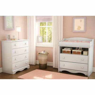 South Shore Heavenly Changing Table and 4 Drawer Chest Set, Pure White