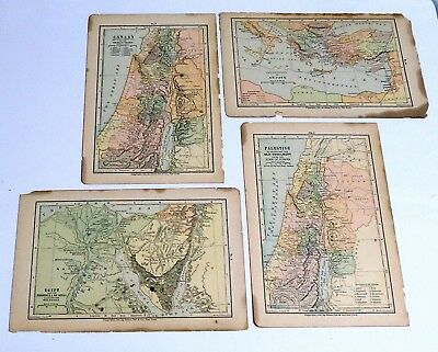 4 Antique maps of Holy Land Egypt, Canaan, Palestine & St. Paul's journeys