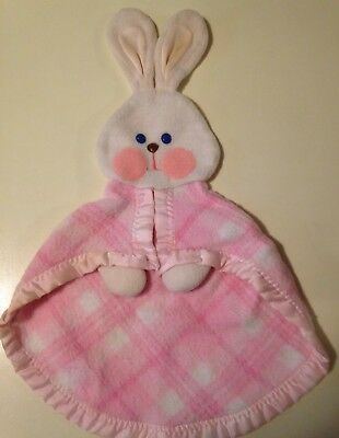 HTF Vintage 1979 Fisher Price Security Blanket Bunny Rabbit Hand Puppet Plaid