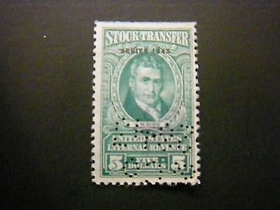 $5.00 Stock Transfer Revenue Stamp Used