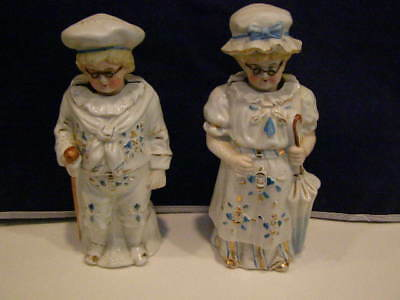 Antique English Pair Of Victorian Porcelain Nodders