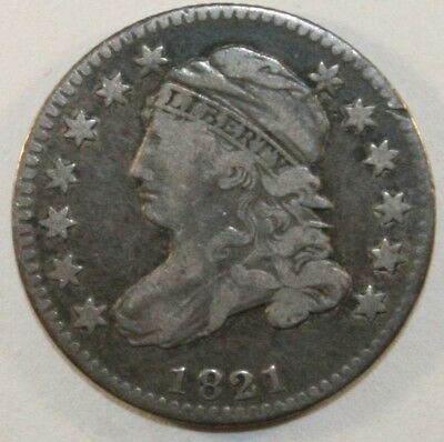 1821 Bust Dime, small 0, tough variety