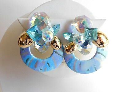 Vintage Large Chunky Blue Foil Glass Crystal Jeweled Angel Clip On Earrings