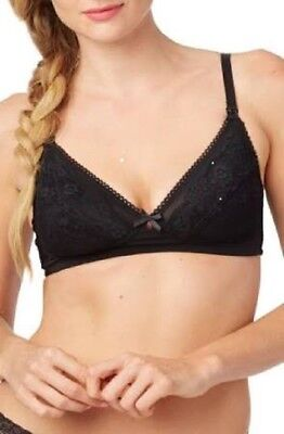 Rosie Pope Unlined Wireless Lace Nursing Maternity Bra; 34B; Black