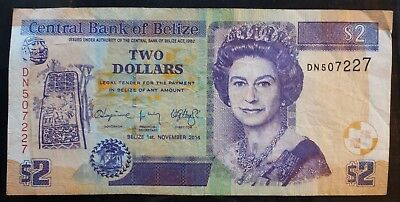 Belize 2 Dollars Banknote Queen Elizabeth Cash Central American Paper Money