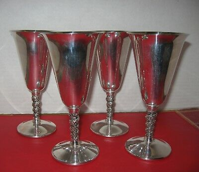 4 Silverplate Wine Goblets/Flutes with Grapevine Stems, Valero EPB Made in Spain