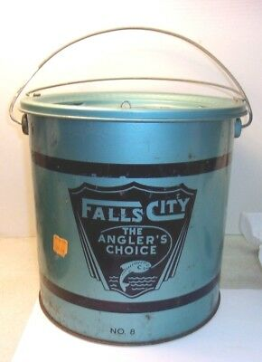 Vintage FALLS CITY ANGLE'S CHOICE Minnow Bucket Pail UNUSUAL BLUE GREEN COLOR