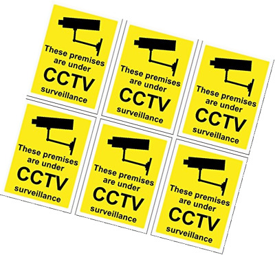 6 x CCTV Signs Self Adhesive 100mm x 75mm Suitable For Outdoor Use.