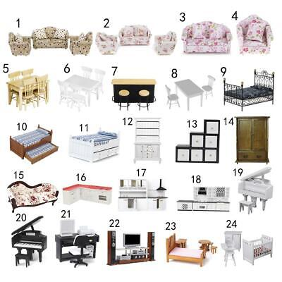Luxury Miniature Bed Sofa Piano Bedroom/Kitchen Furniture 1:12 Dollhouse Décor