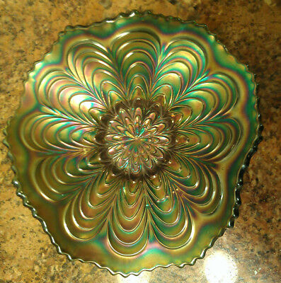 Antique Fenton Peacock Tail Pattern Green Iridescent Carnival Glass Dish