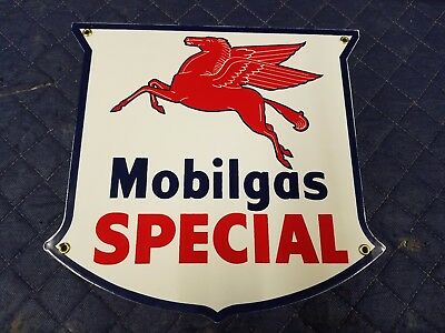 Mobil Gas Special Porcelain Metal Sign Vintage decor art oil car truck tractor