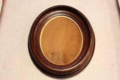 Antique Walnut Oval Picture Frame - removable gold insert