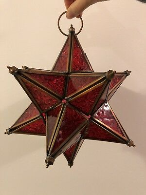 Antique Vintage Glass Morovian Pendant Star Light Candle Lamp