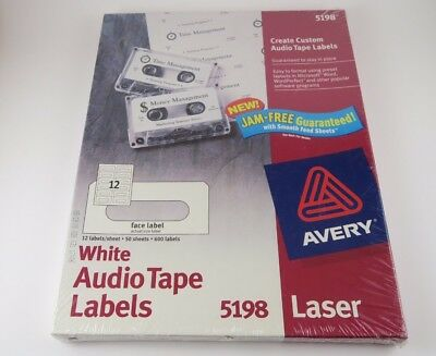 Avery Laser 5198 White Audio Tape Labels - 50 sheets @ 12/Sheet - 600 Labels