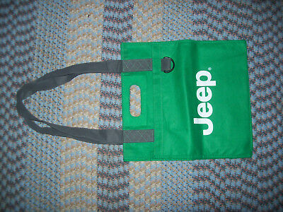 JEEP Classic Logo Green TOTE BAG with Brown Shoulder Straps WRANGLER Cherokee