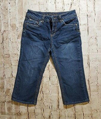 Justice Jeans Simply Low Stretch Denim Skinny Capri Button Flap Back Pockets 12R