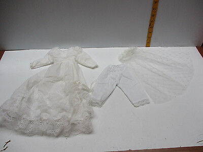 "VINTAGE Victorian Style WEDDING Doll Dress 4 Antique German Bisque china 18""doll"