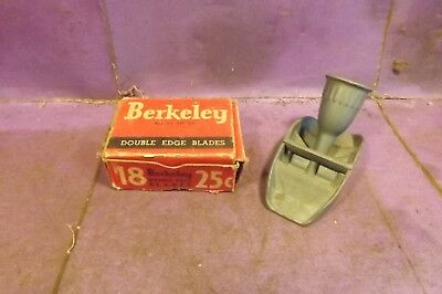 Vintage Wal-Kro-Prod Small Plane + Box Of Double-Edge Blades By Berkeley Co. Usa