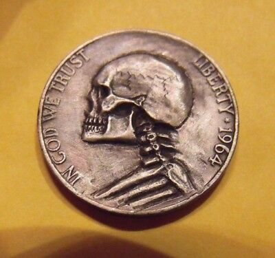 Hand Carved  Hobo nickel  Jeff Skull Ribs Zombie