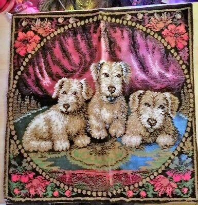Vintage Dog Tapestry Made In Italy Airedale Terrier Welsh Terrier Pups