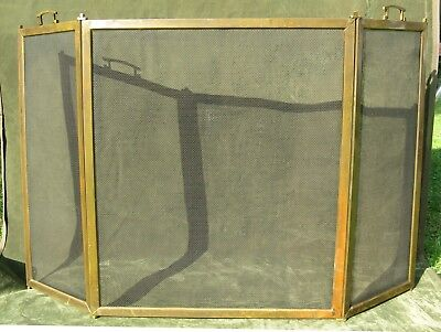 """Vintage Antique Brass Arts & Crafts Deco 3 Fold Fire place Screen 50""""W"""
